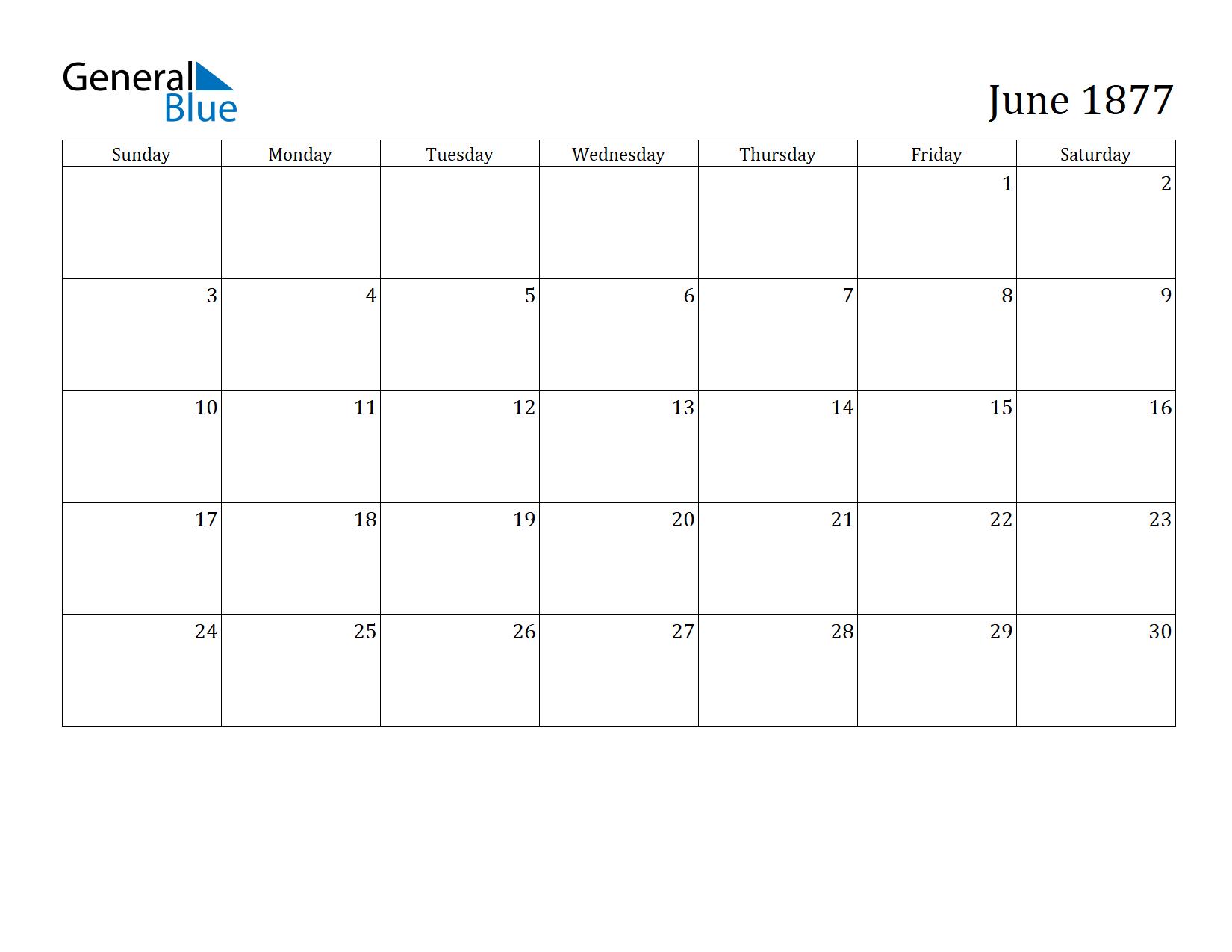 Image of June 1877 Calendar