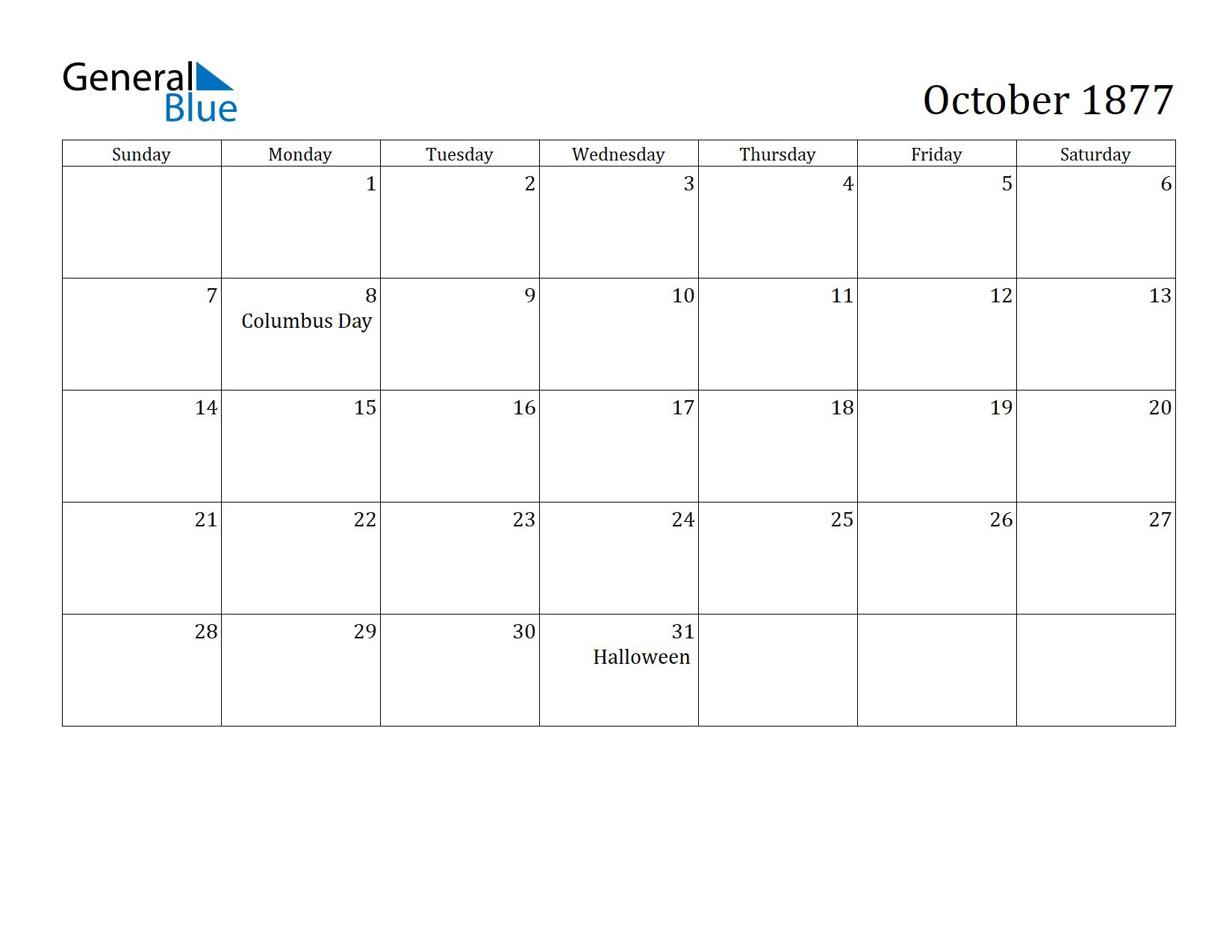 Image of October 1877 Calendar