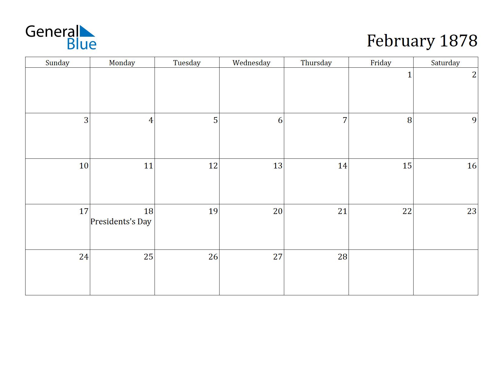 Image of February 1878 Calendar