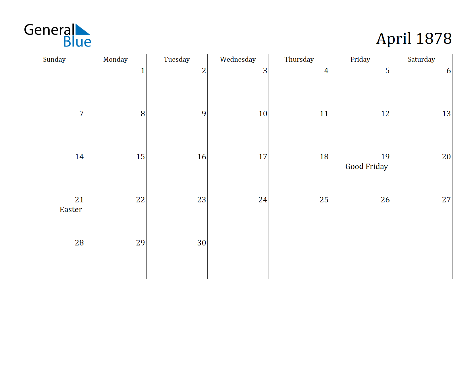 Image of April 1878 Calendar