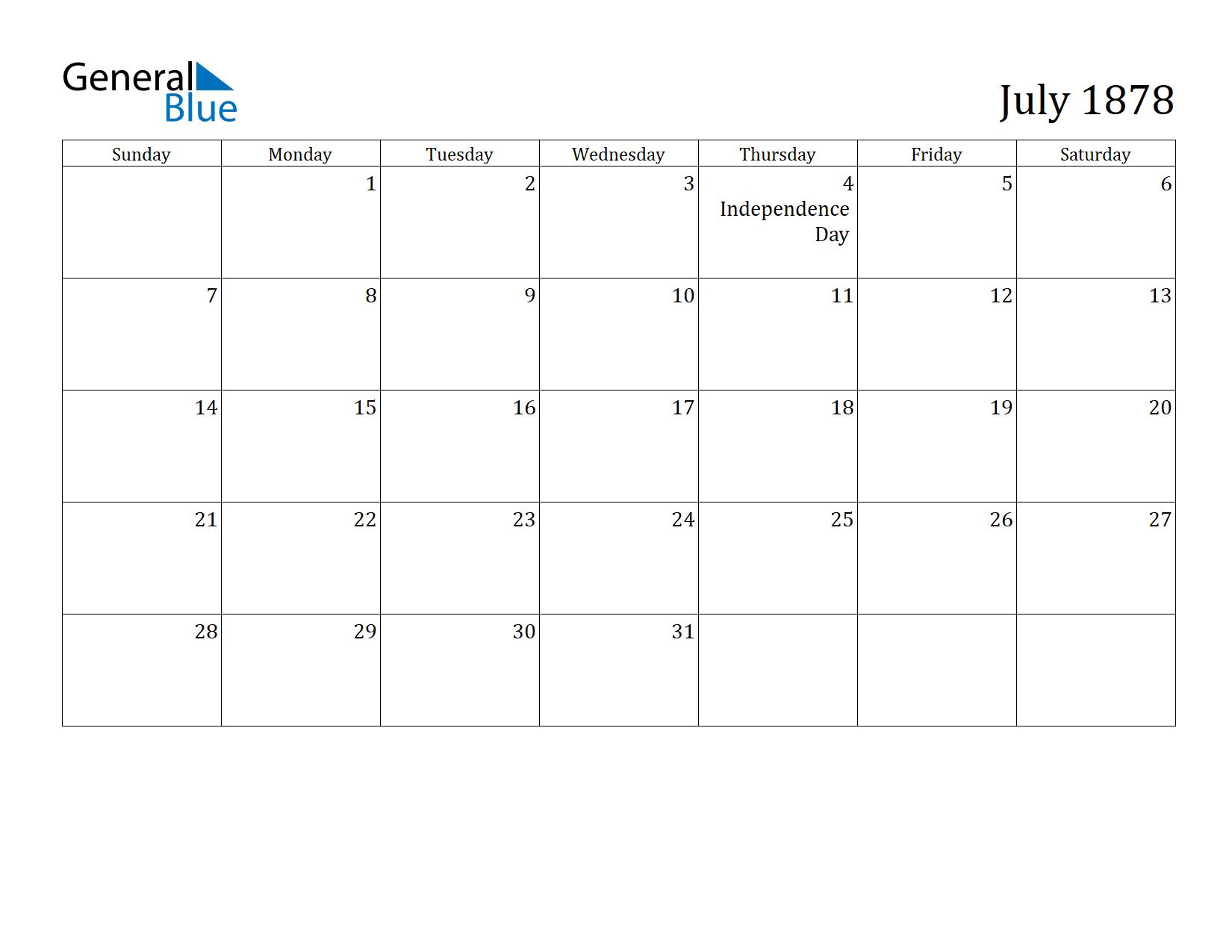 Image of July 1878 Calendar