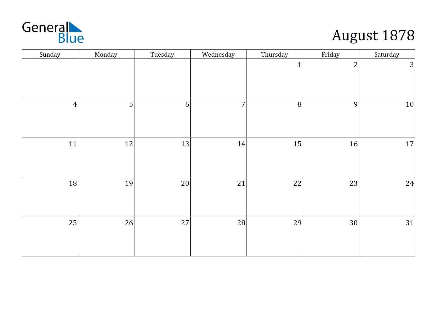 Image of August 1878 Calendar