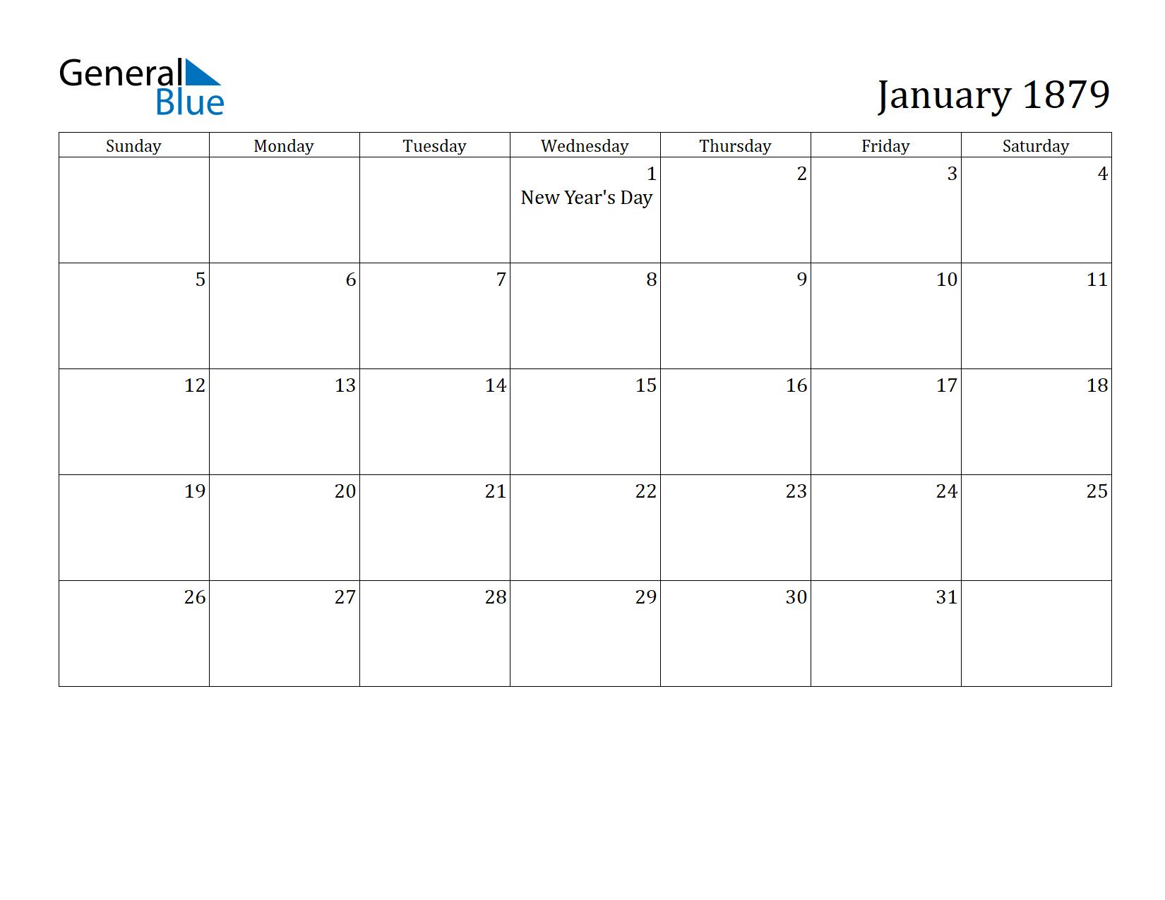 Image of January 1879 Calendar