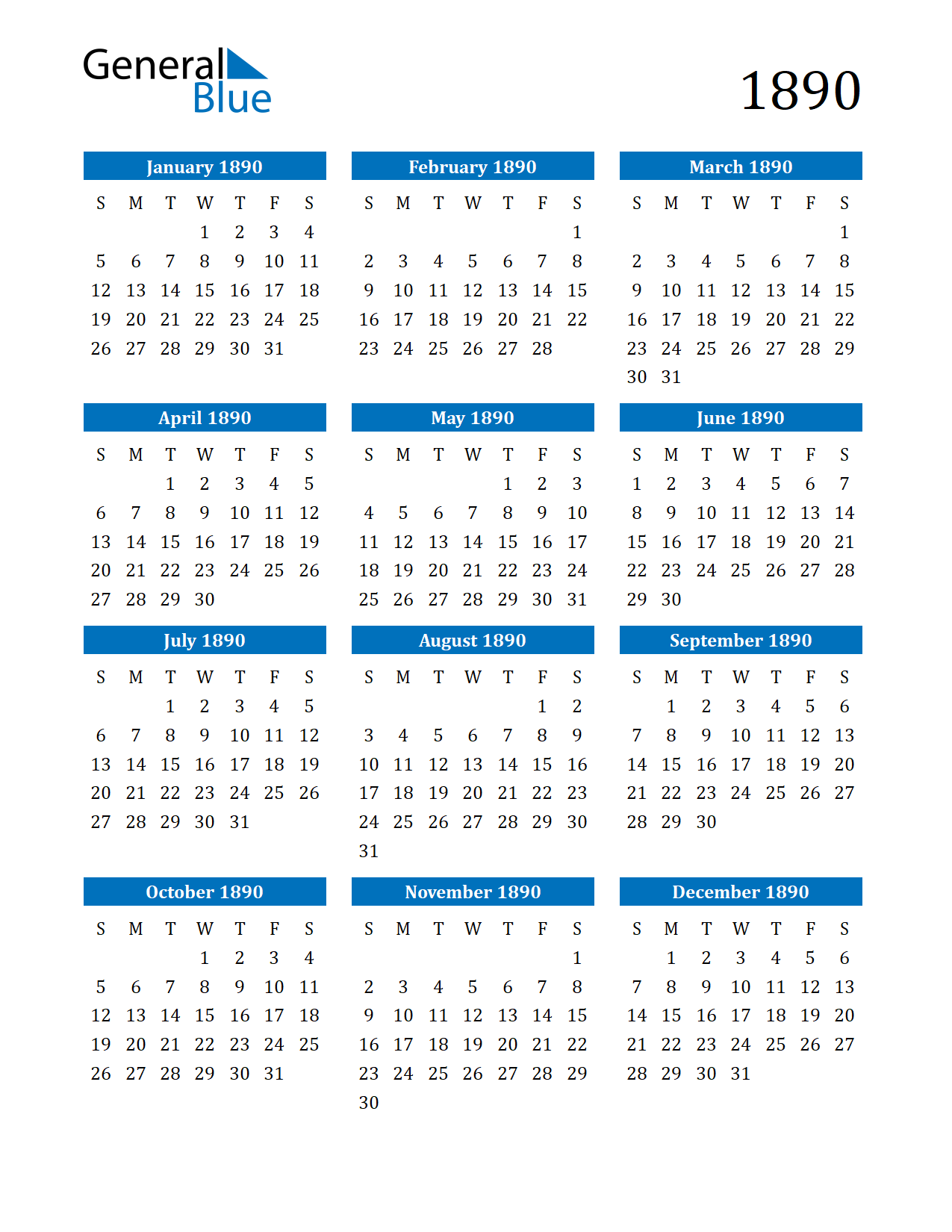 Image of 1890 Calendar