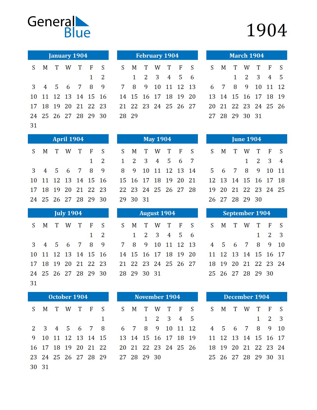 Image of 1904 Calendar