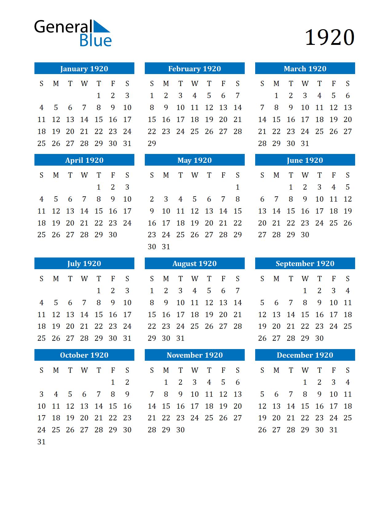 Image of 1920 Calendar