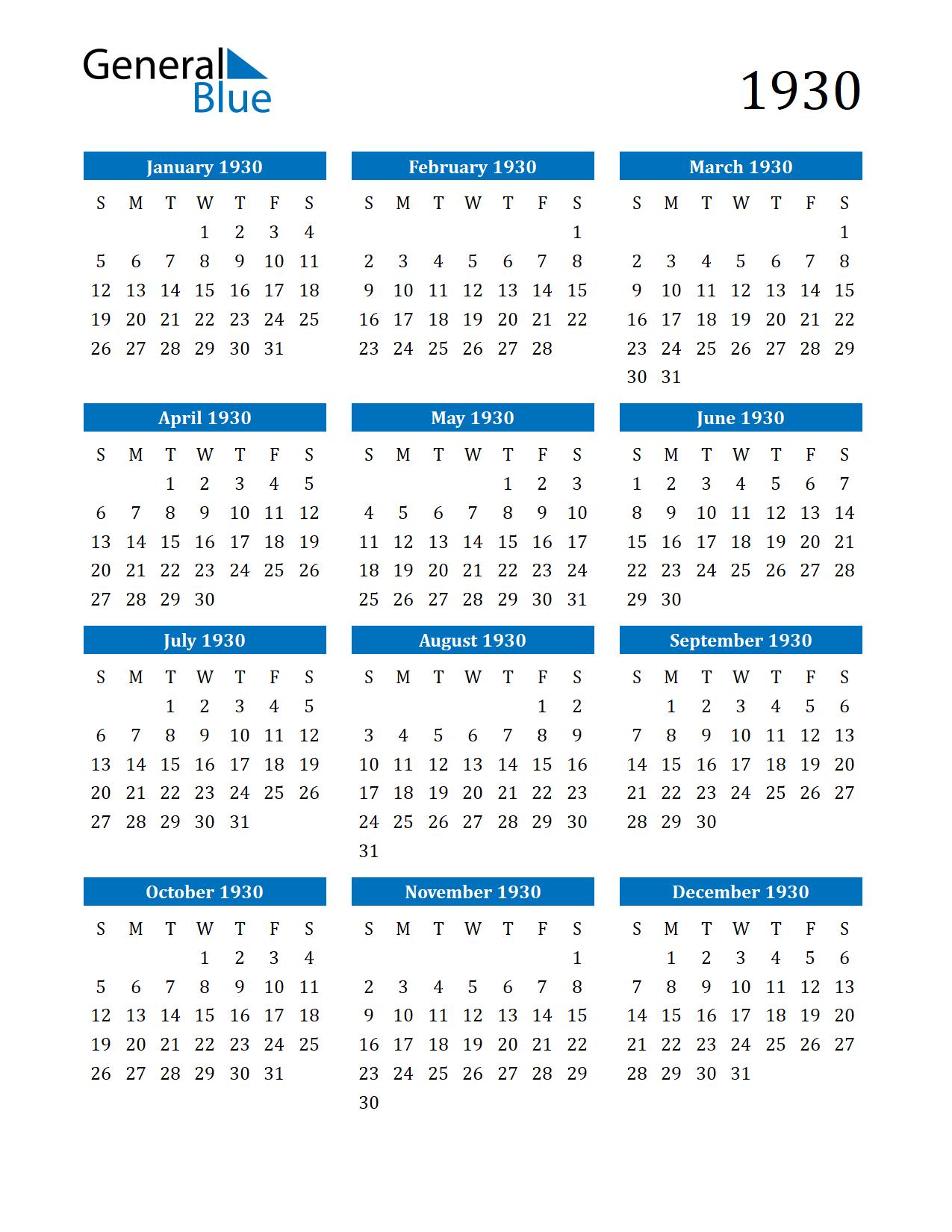 Image of 1930 Calendar