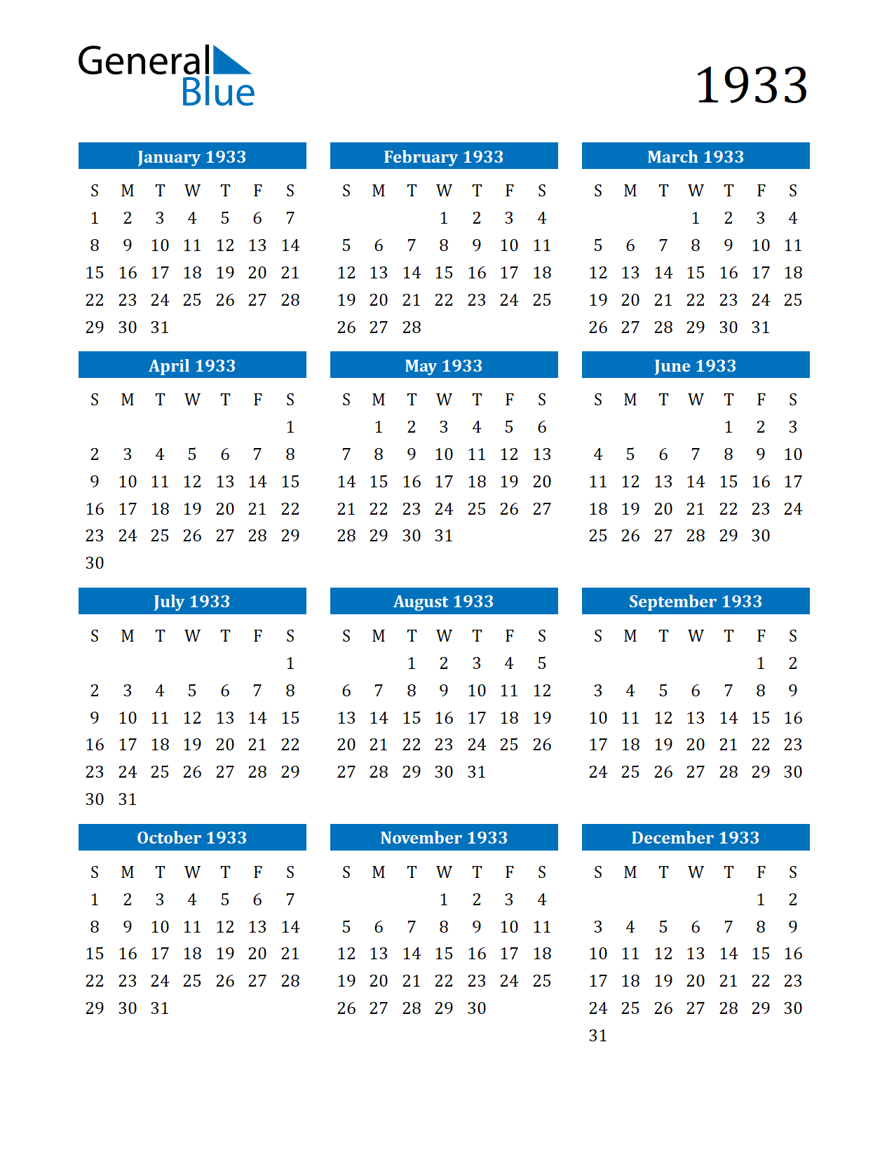 Image of 1933 Calendar