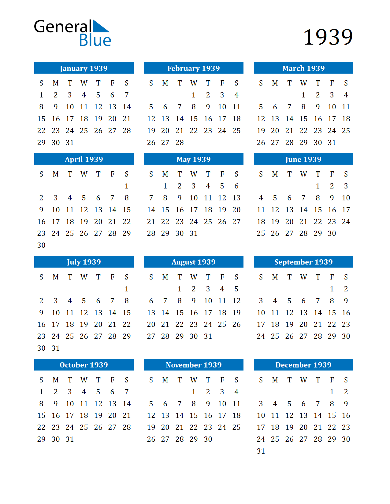 Image of 1939 Calendar
