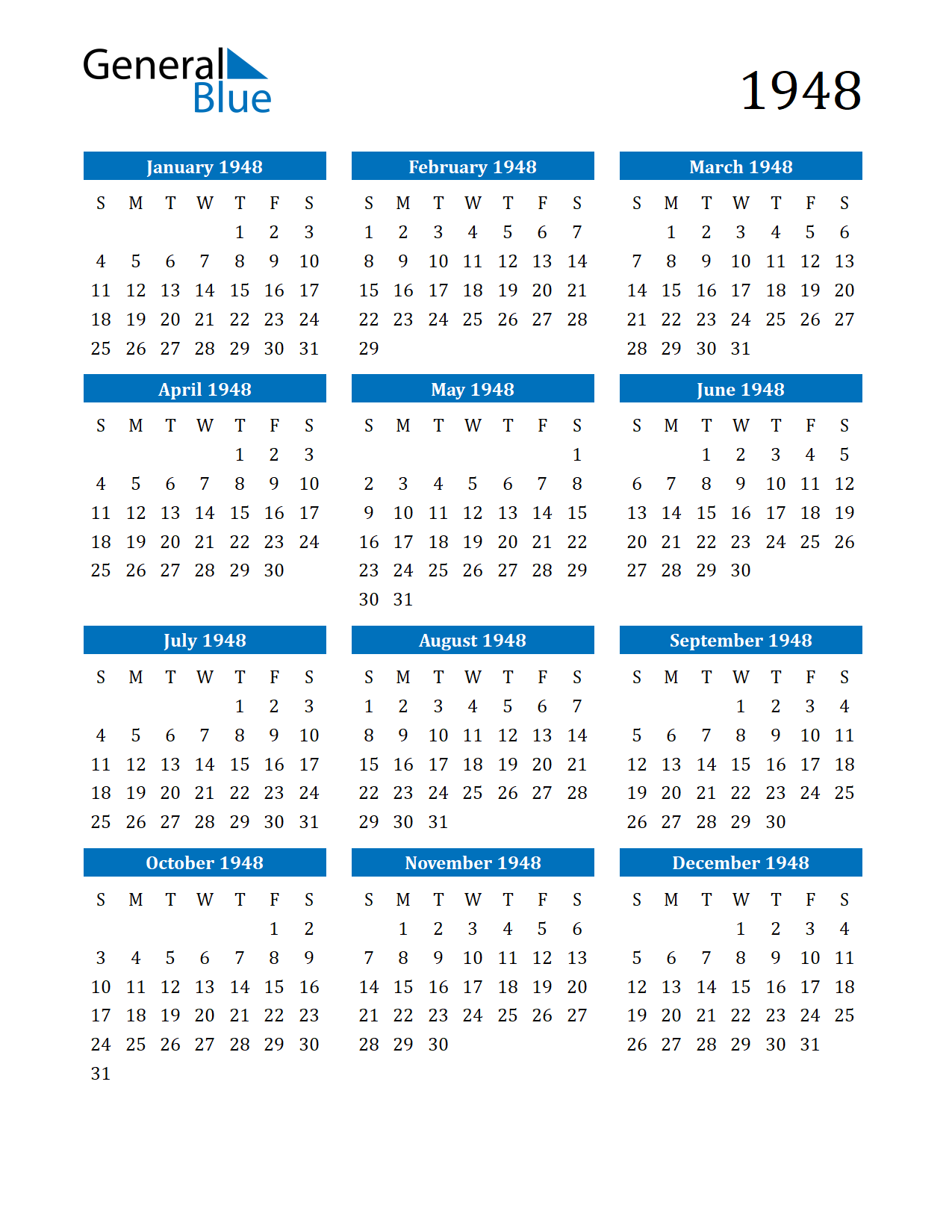 Image of 1948 Calendar