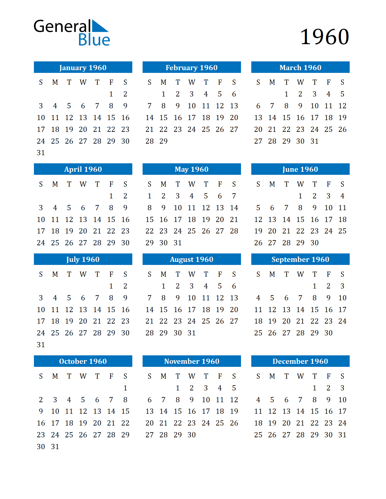 1960 Calendar.1960 Calendar Pdf Word Excel General Blue