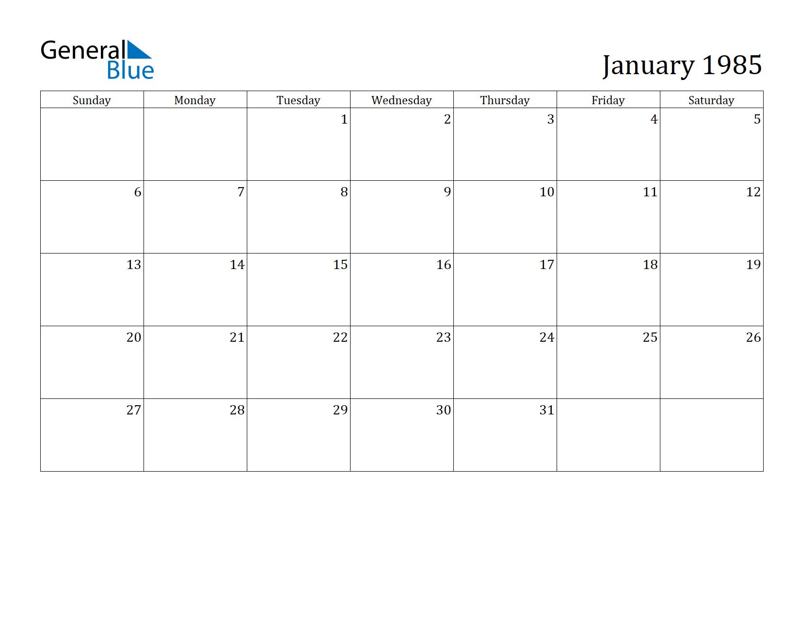 1985 Calendar.January 1985 Calendar General Blue