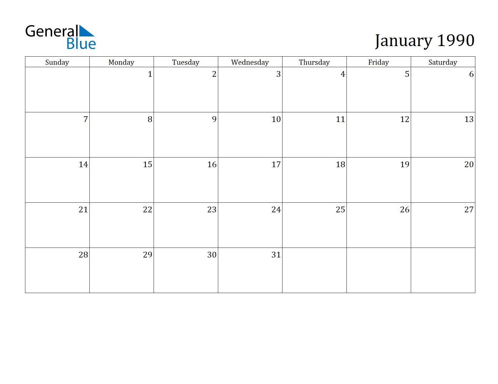 1990 Calendar.January 1990 Calendar General Blue