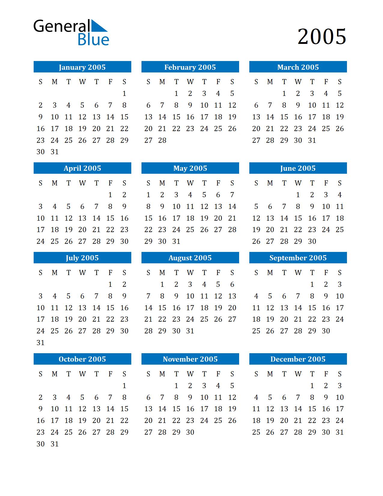 Image of 2005 Calendar