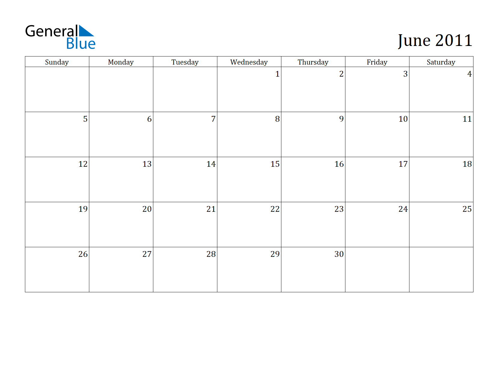 Image of June 2011 Calendar