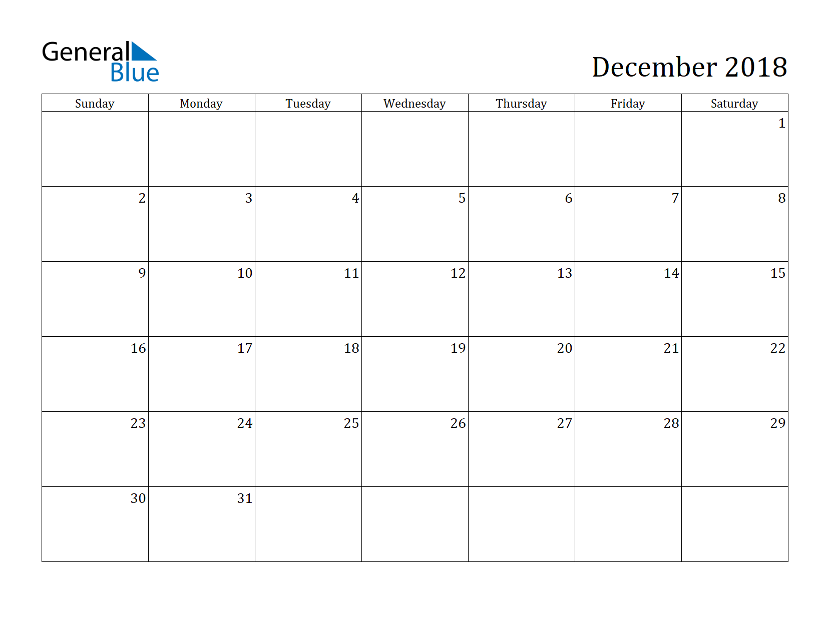 Image of December 2018 Calendar