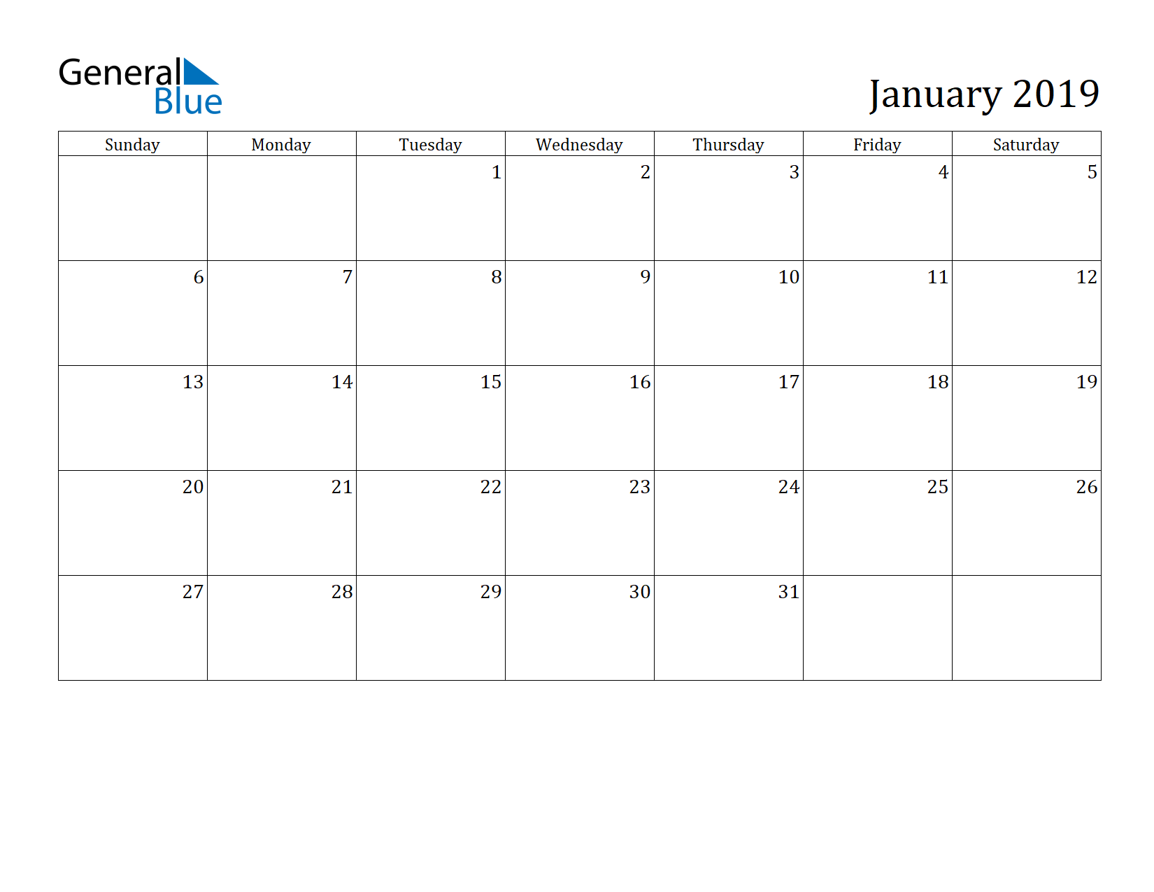 Image of January 2019 Calendar