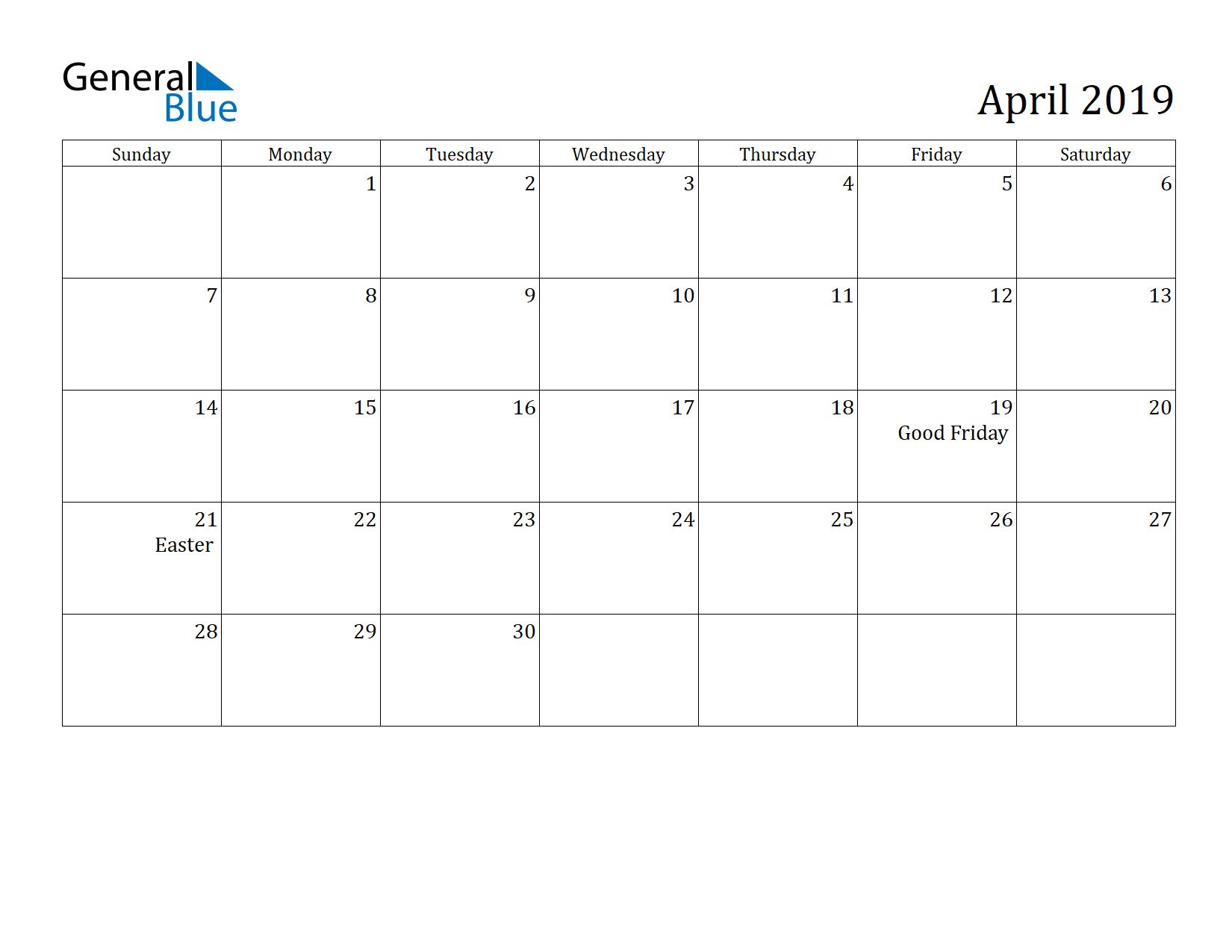 Image of April 2019 Calendar