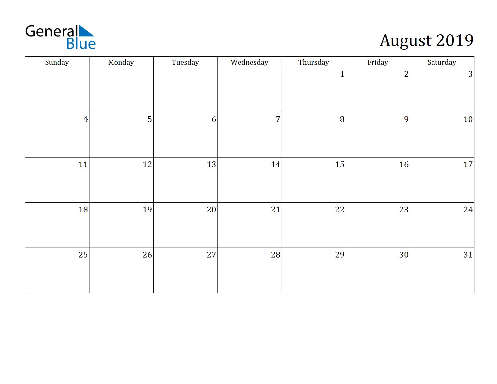 Image of August 2019 Calendar