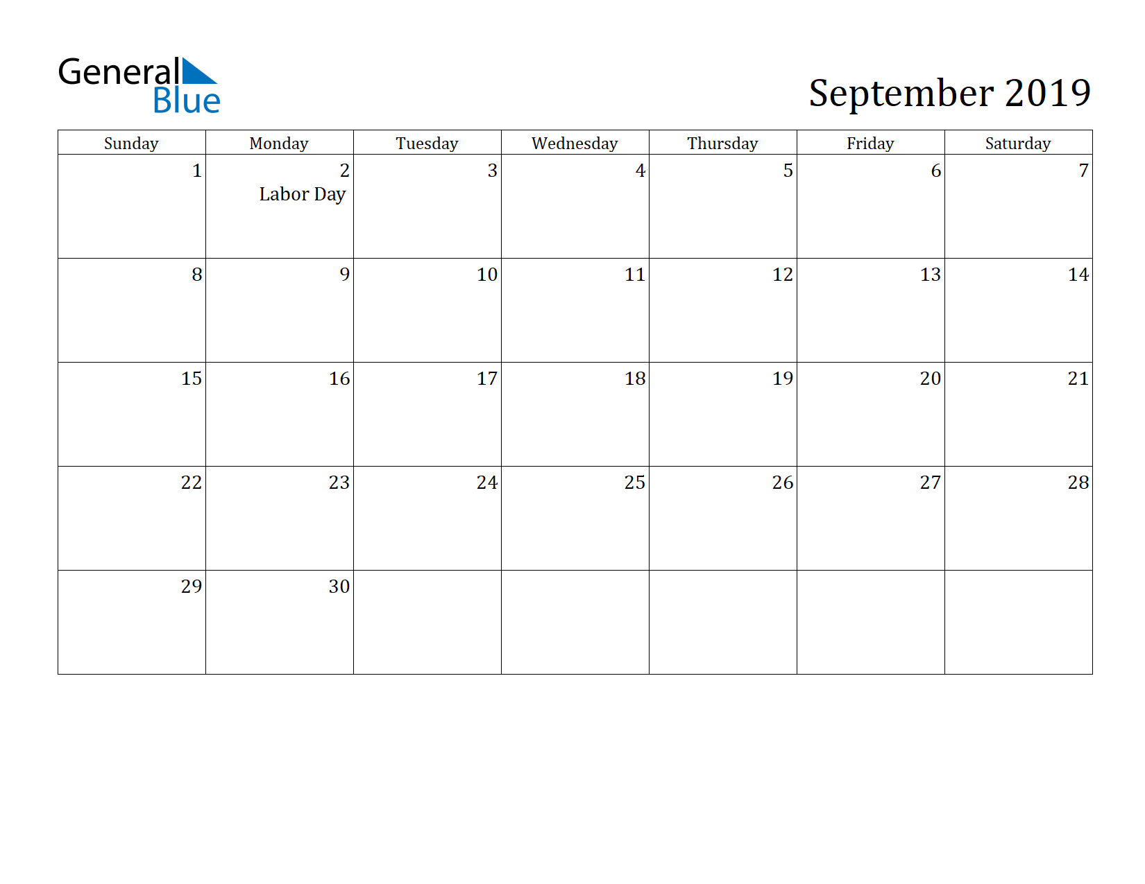 Image of September 2019 Calendar