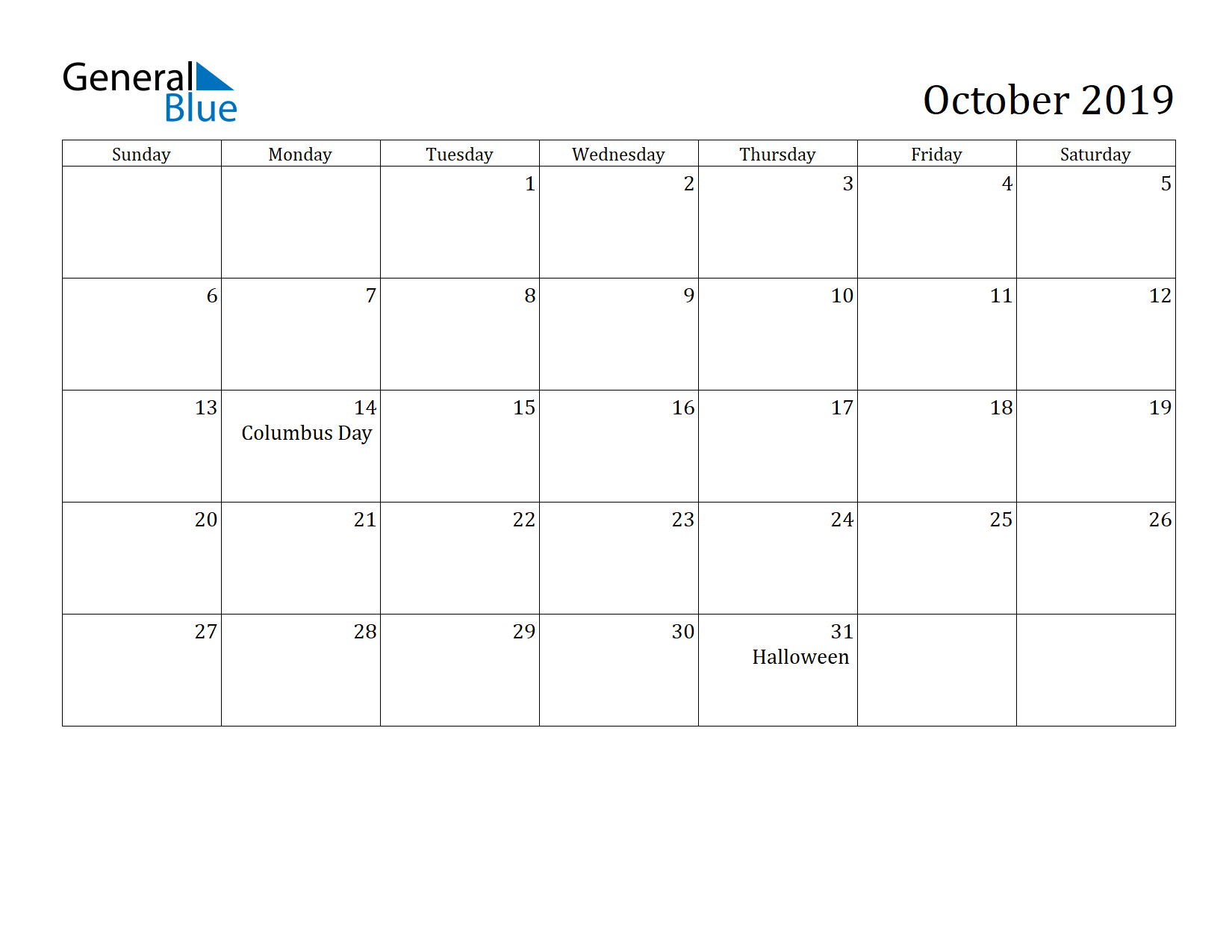 Image of October 2019 Calendar