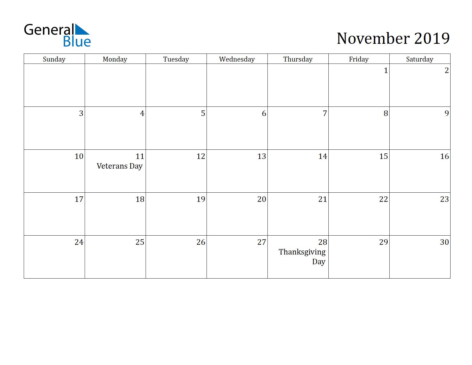 Image of November 2019 Calendar
