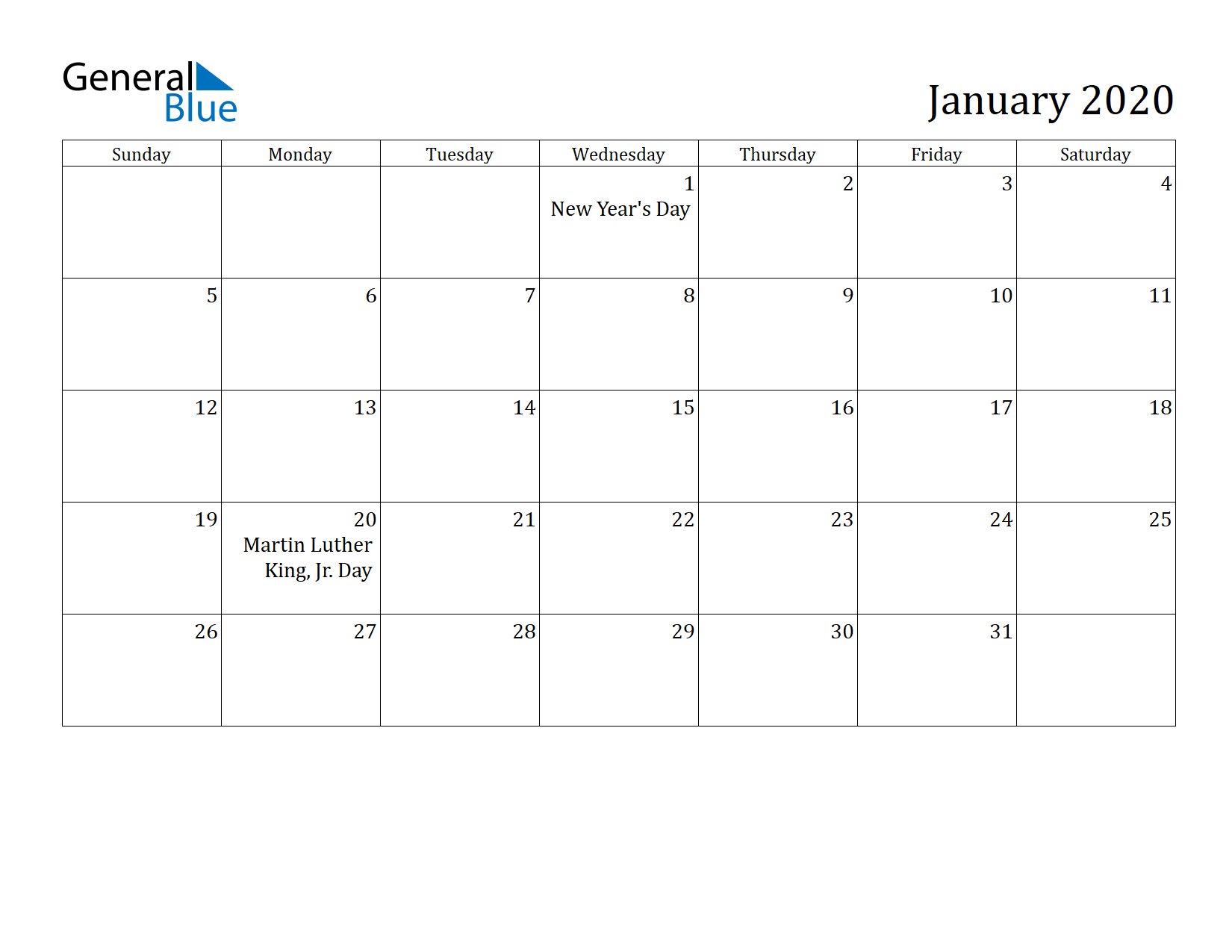 Image of January 2020 Calendar