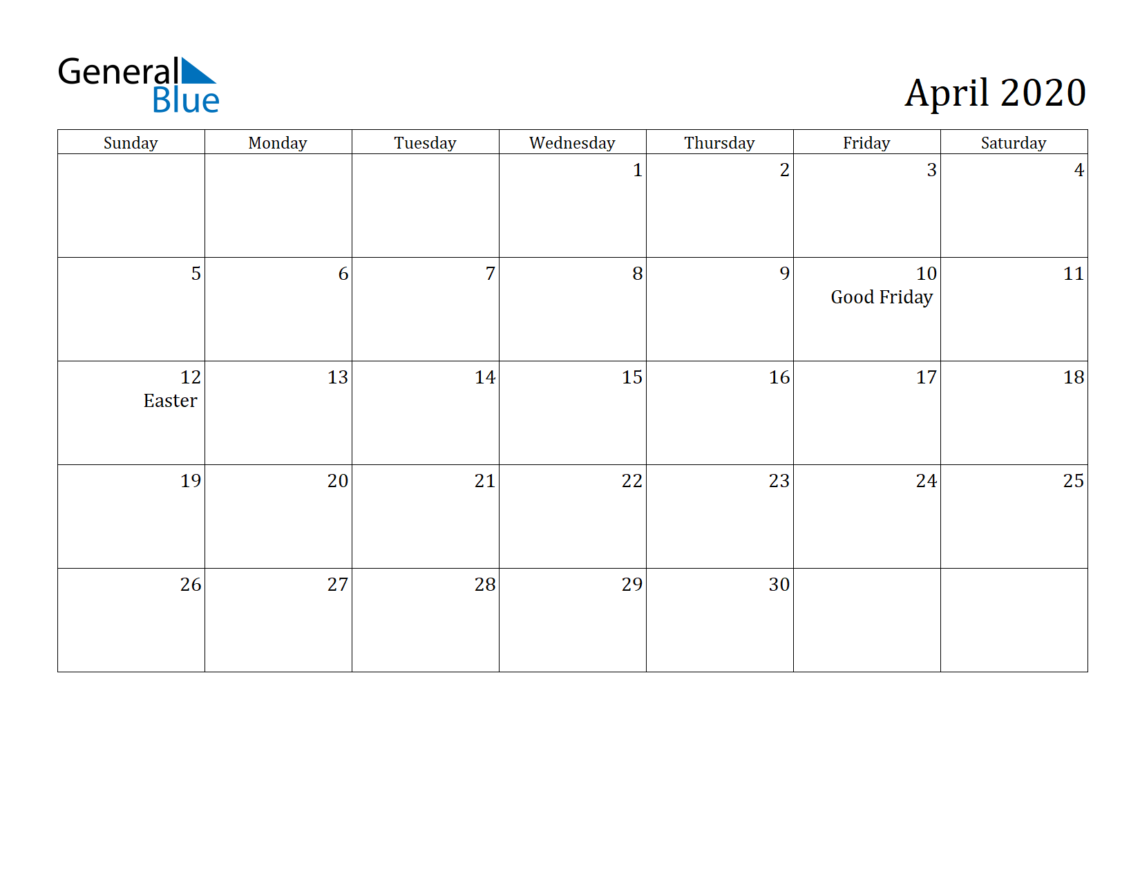 Image of April 2020 Calendar