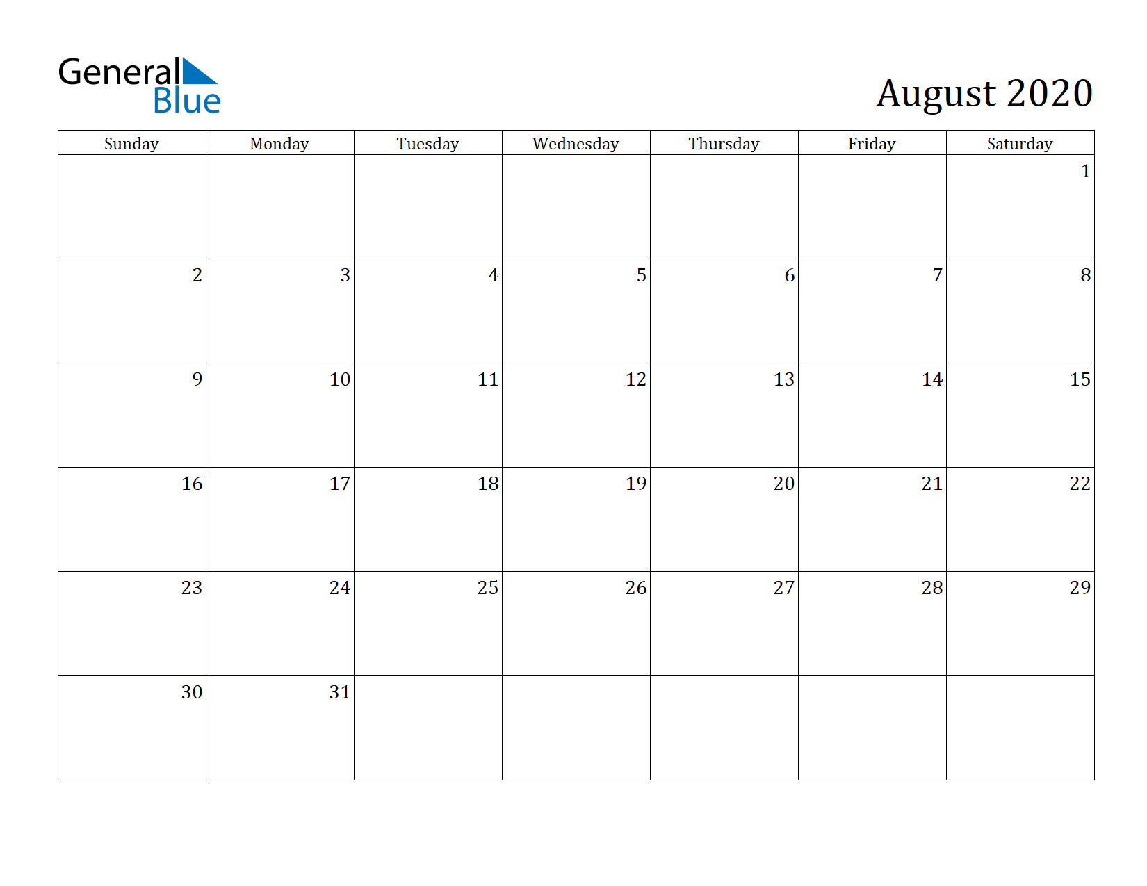 Image of August 2020 Calendar