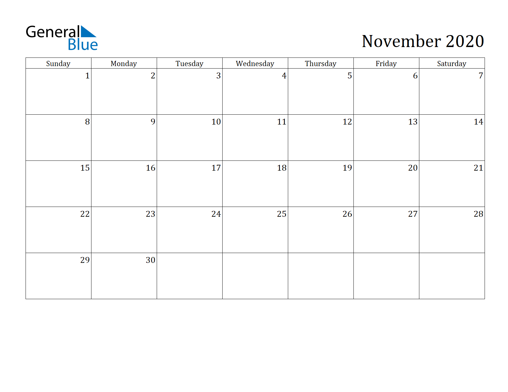 Image of November 2020 Calendar