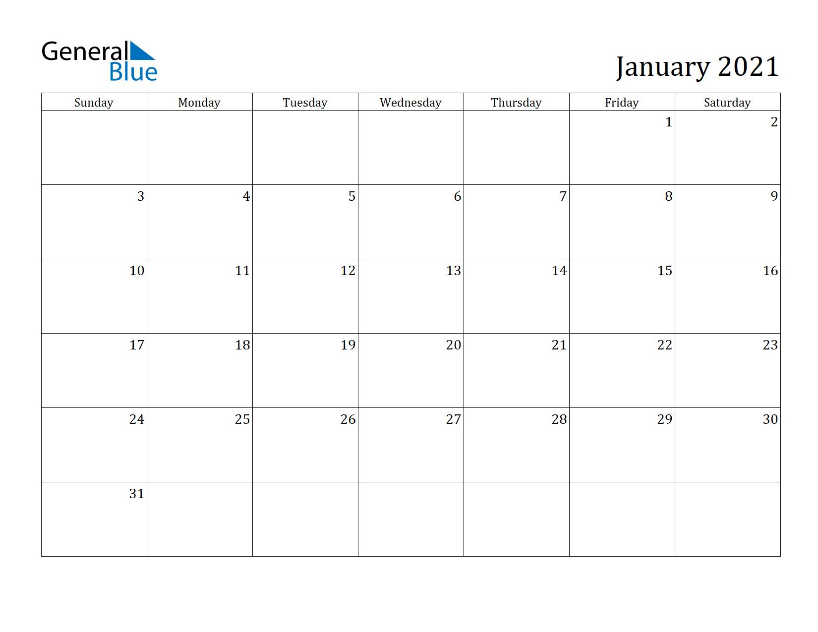 Image of January 2021 Calendar