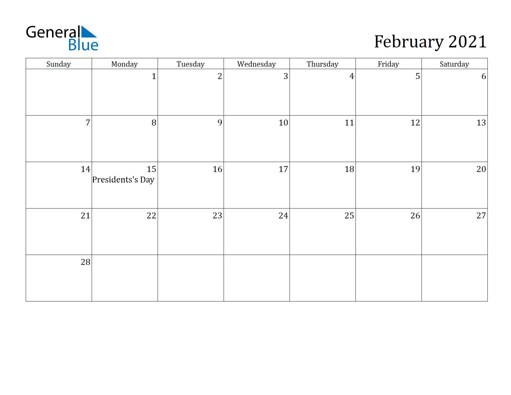 Image of February 2021 Calendar