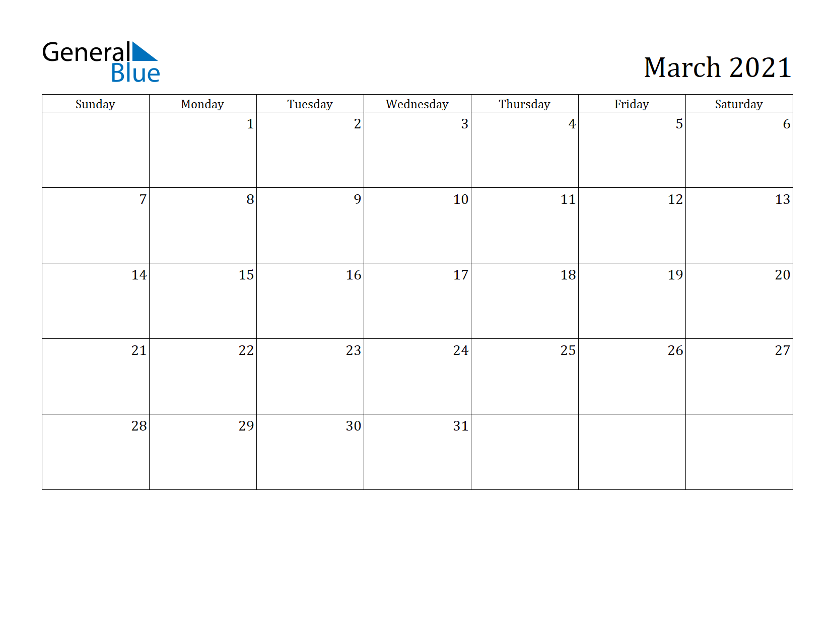 Image of March 2021 Calendar