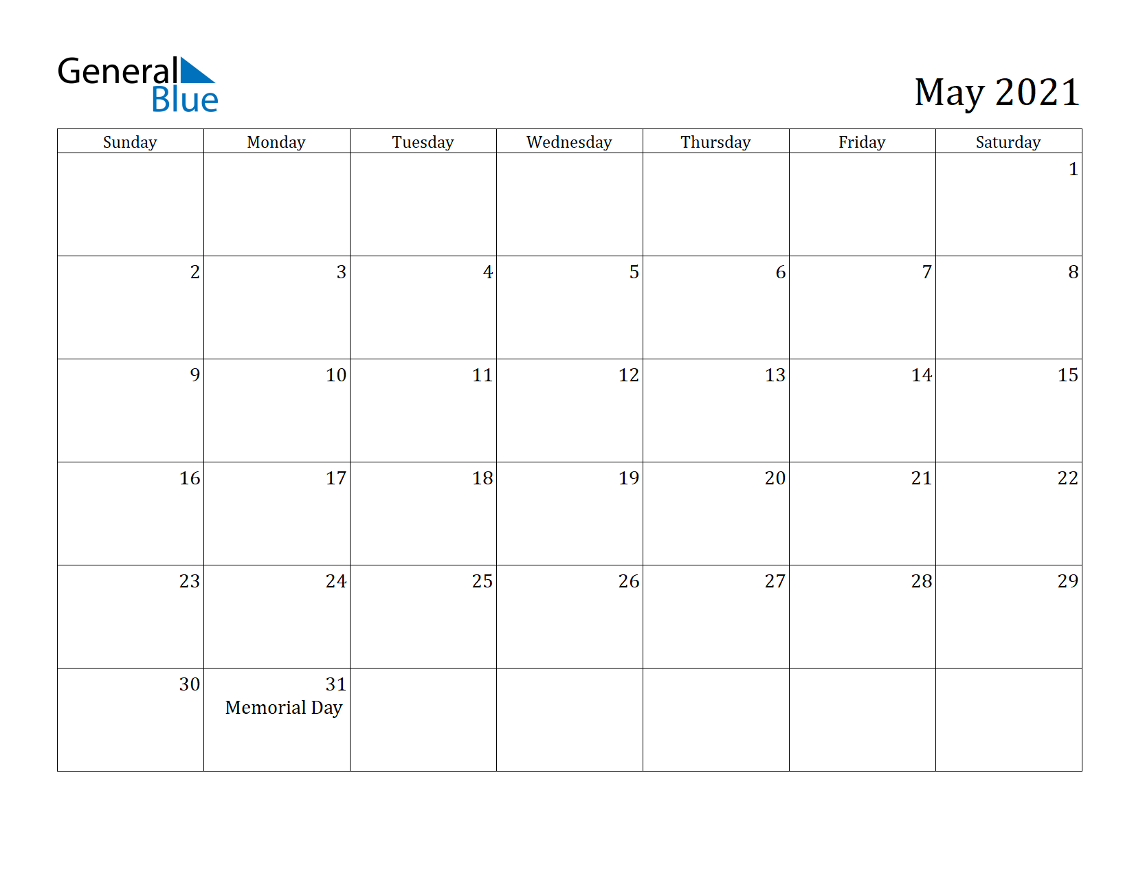 Image of May 2021 Calendar
