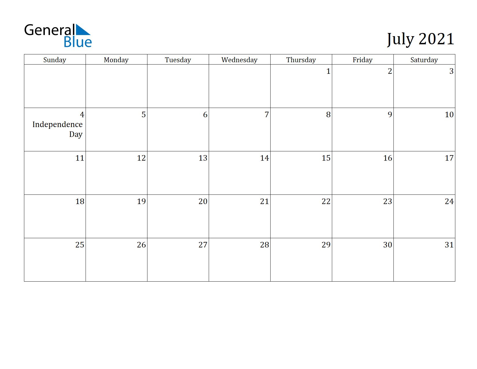 Image of July 2021 Calendar
