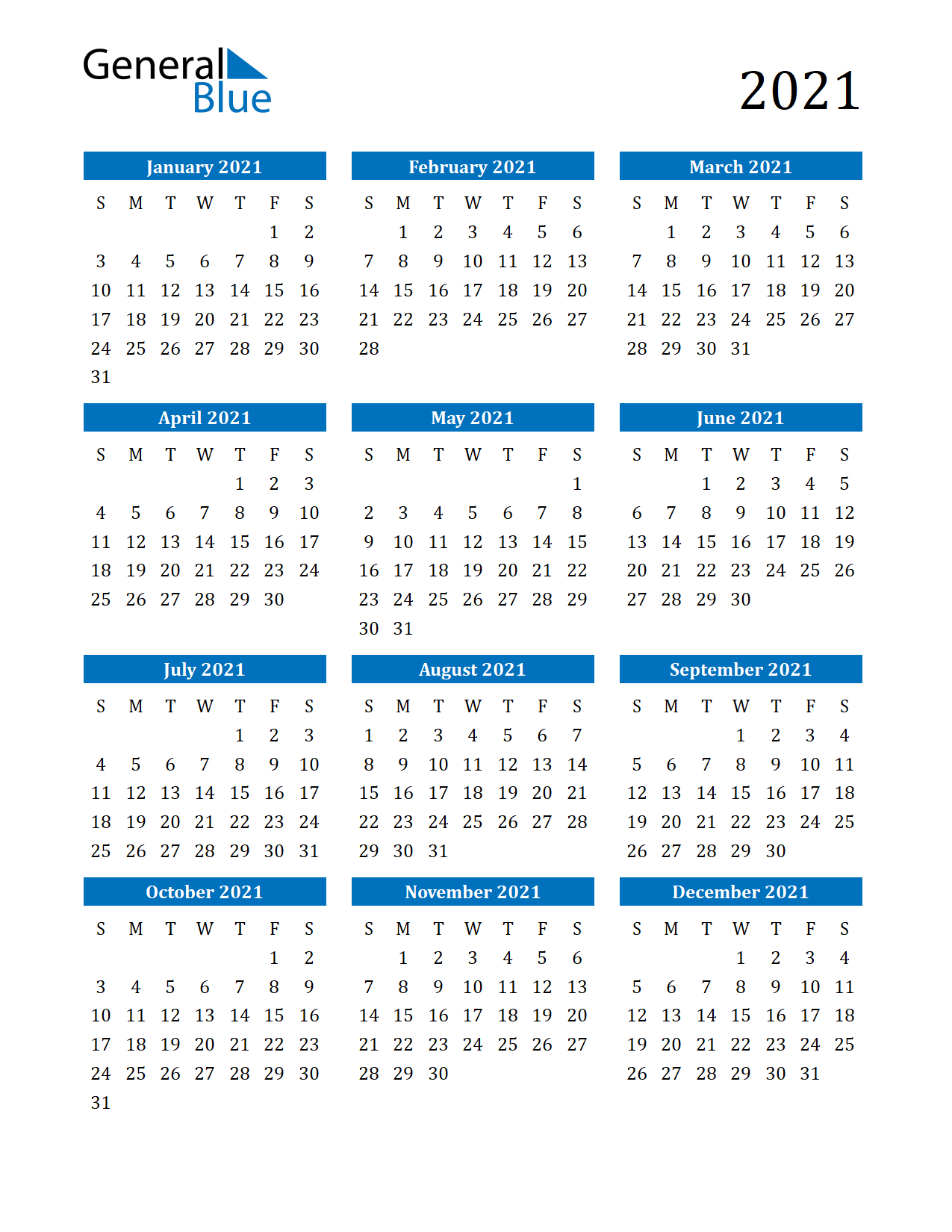 Free downloadable and printable 2021 generic calendar