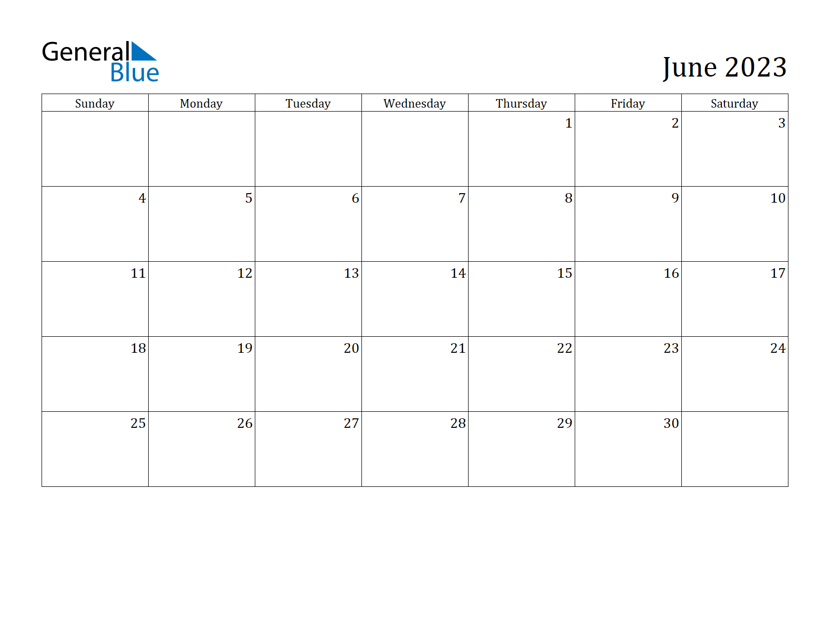 Image of June 2023 Calendar
