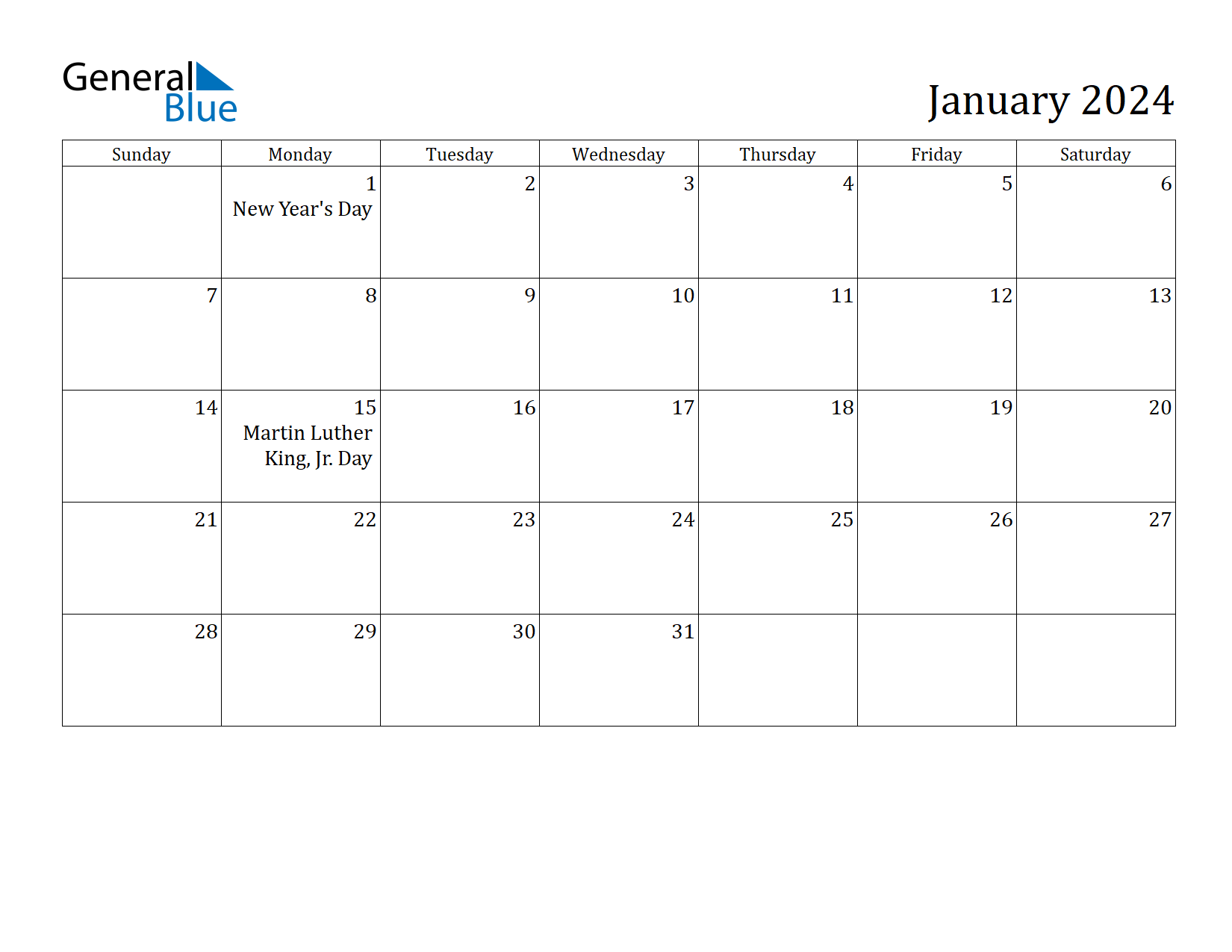 Image of January 2024 Calendar