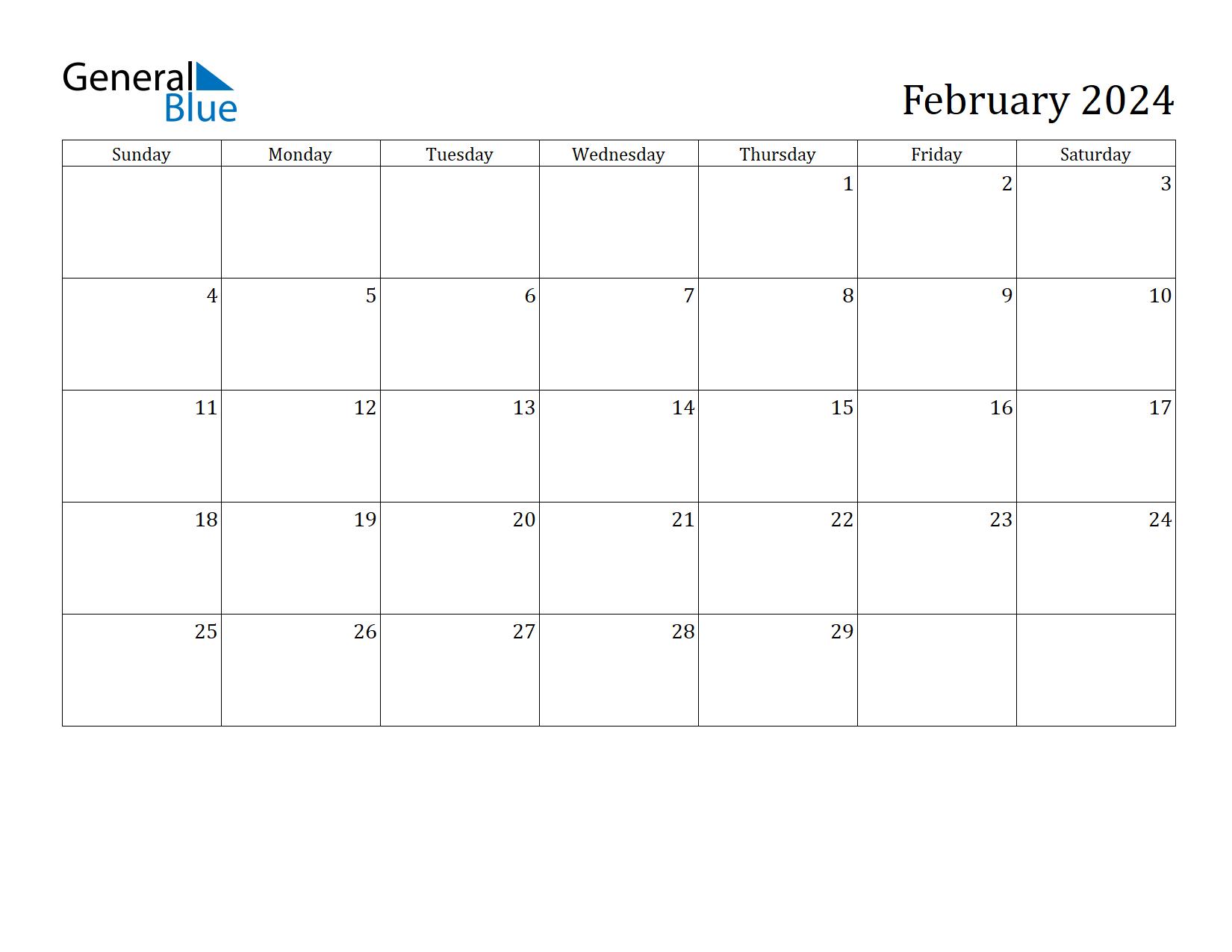 Image of February 2024 Calendar