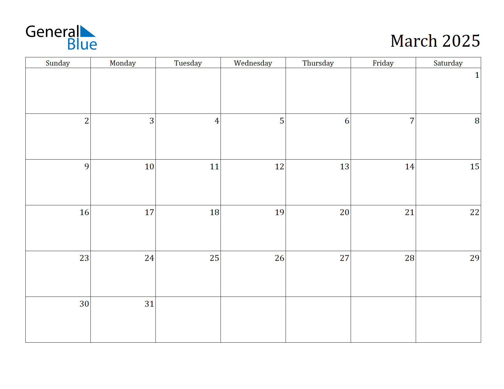 Image of March 2025 Calendar