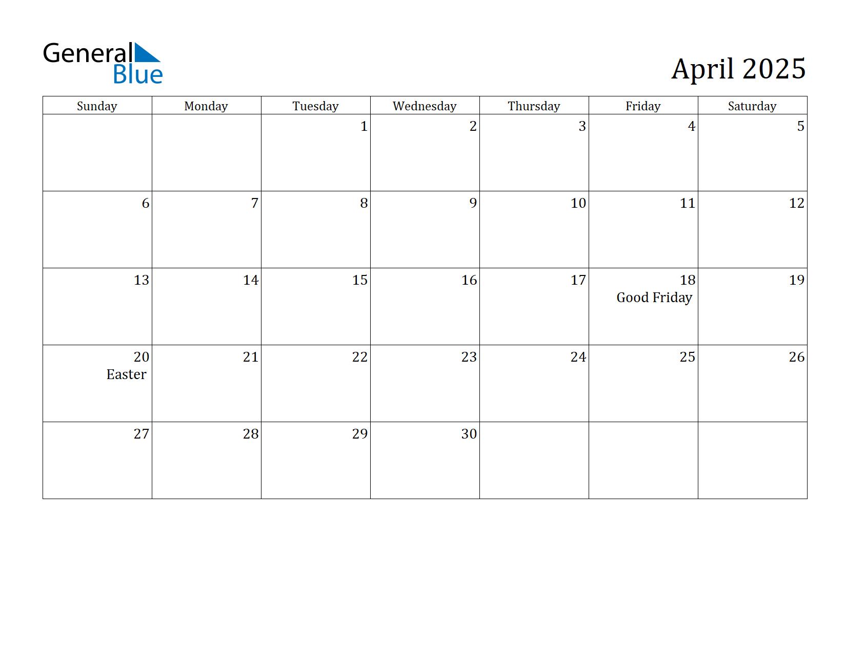 Image of April 2025 Calendar