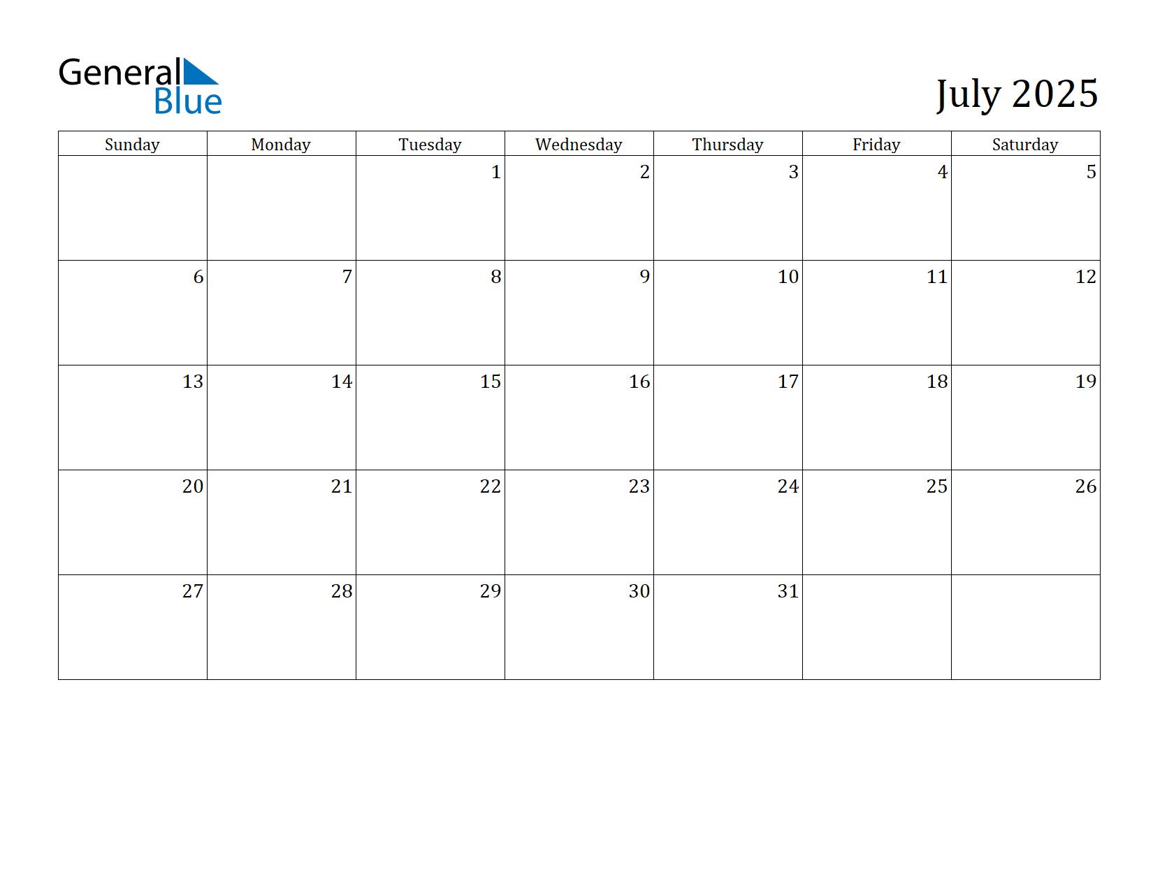 Image of July 2025 Calendar