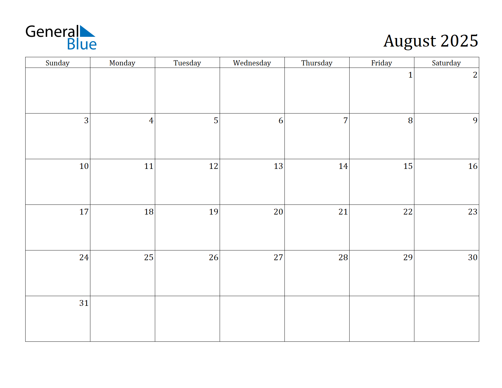 Image of August 2025 Calendar