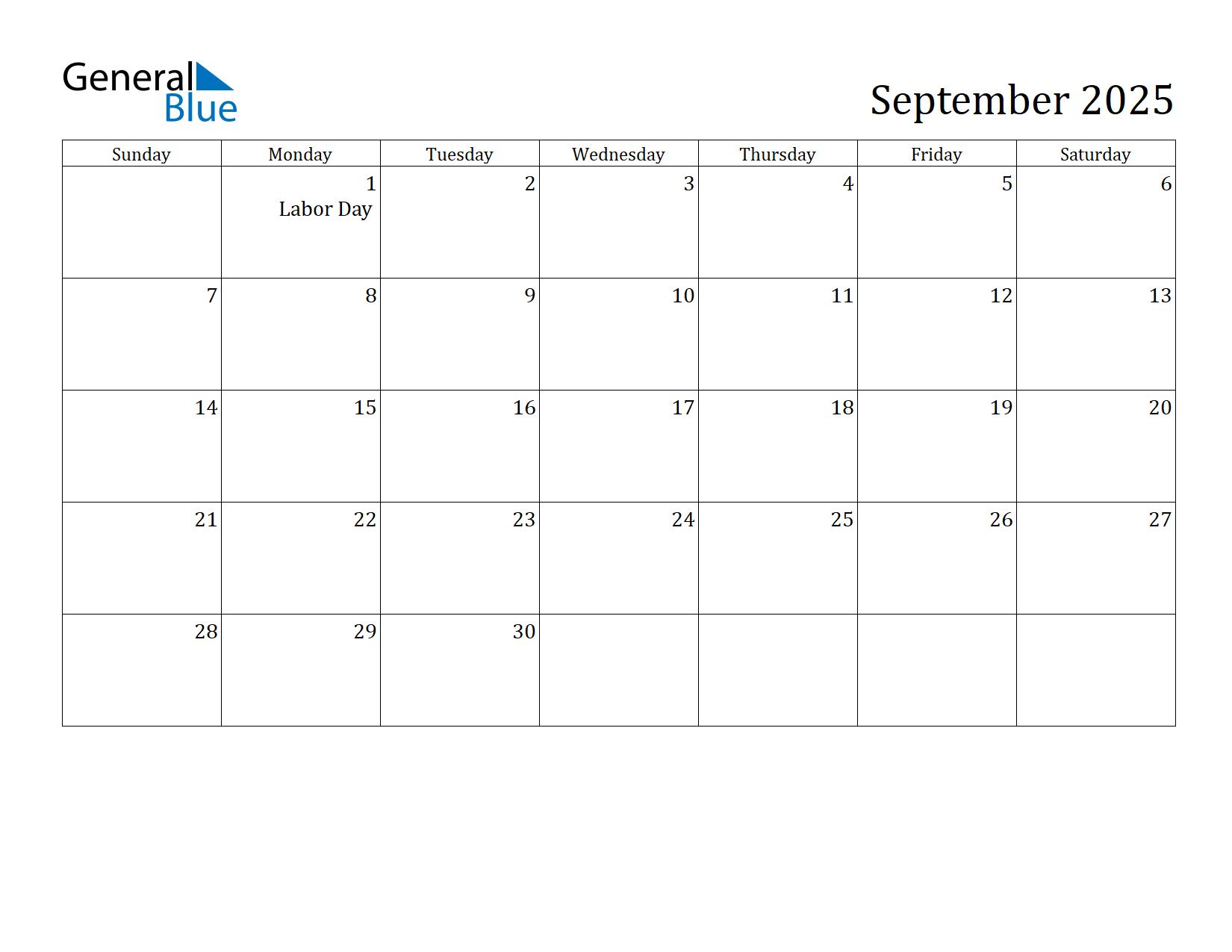 Image of September 2025 Calendar