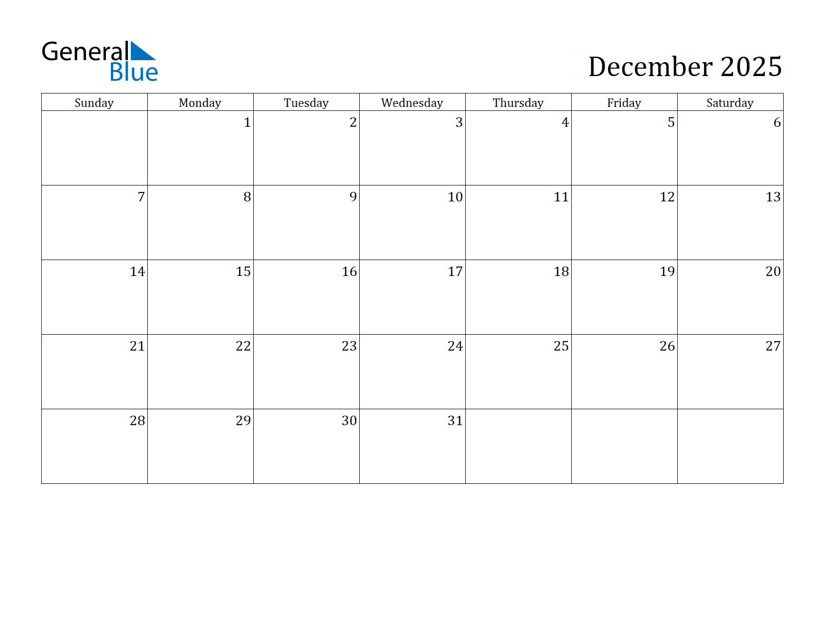 Image of December 2025 Calendar
