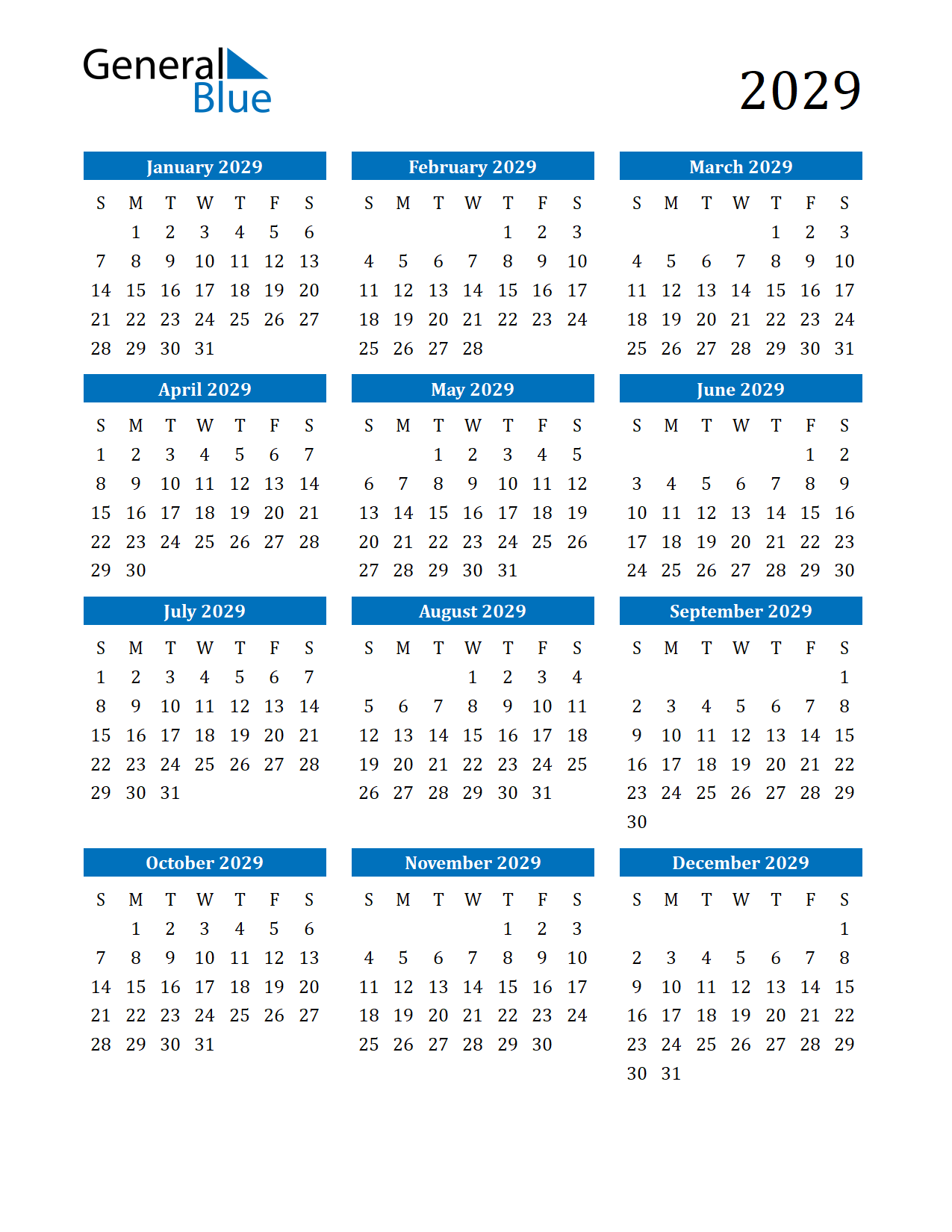 Image of 2029 Calendar