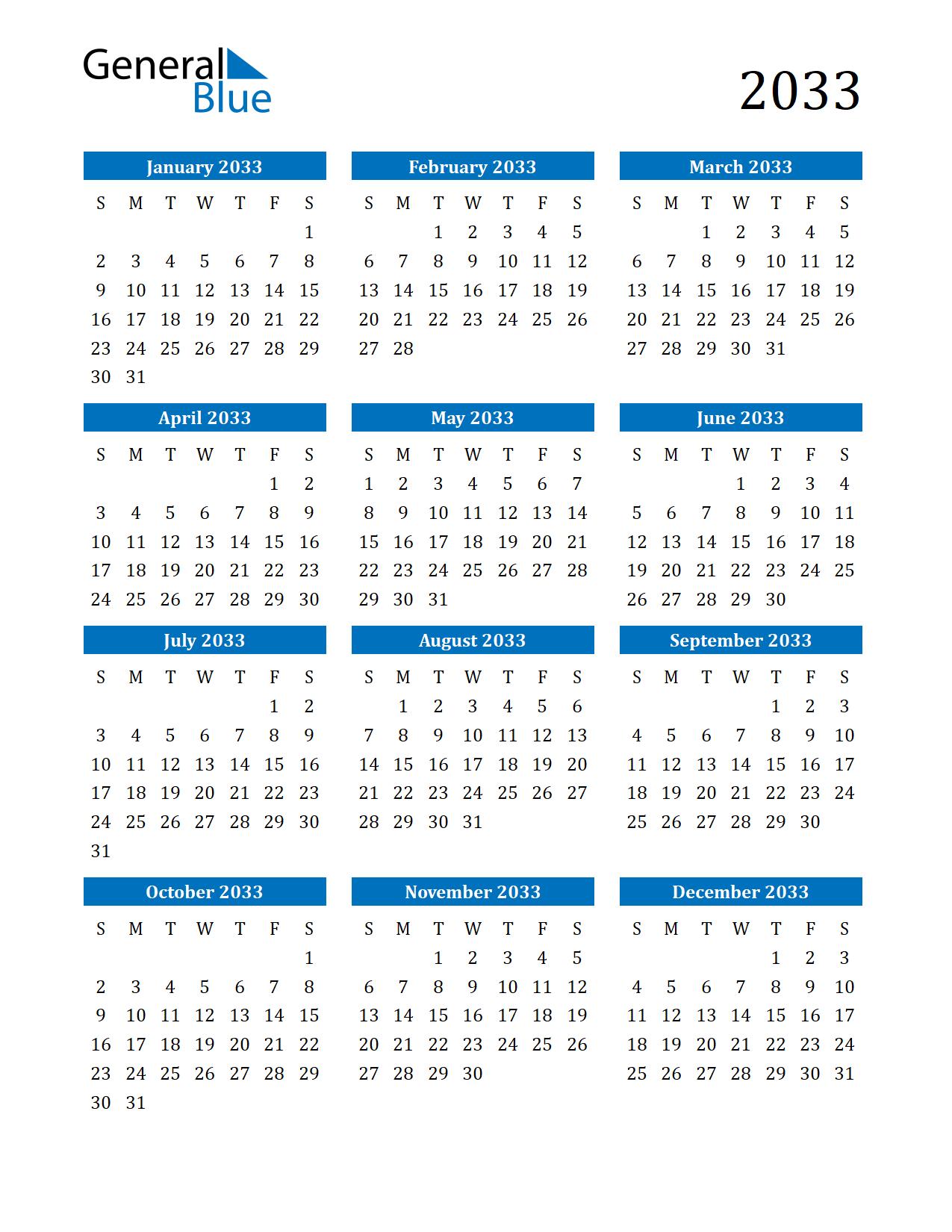 Image of 2033 Calendar