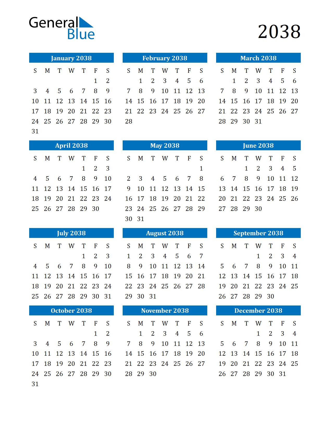 Image of 2038 Calendar