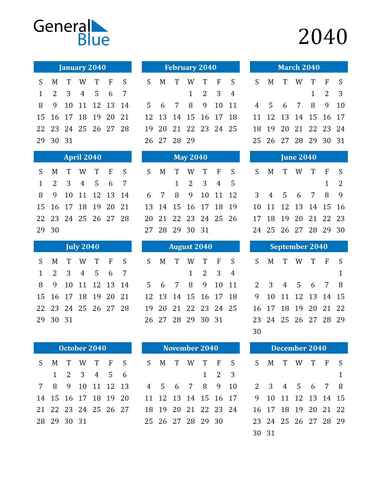 Image of 2040 Calendar