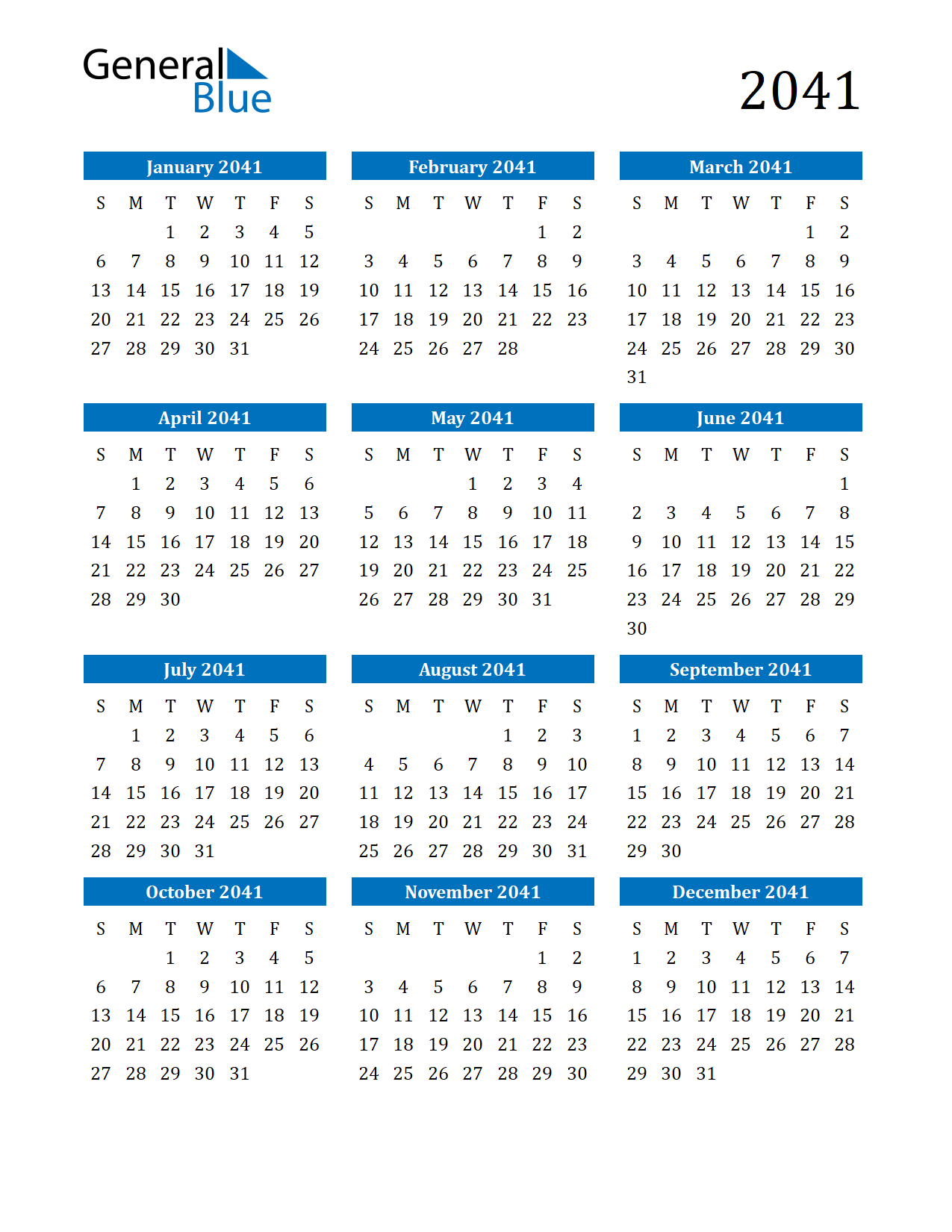 Image of 2041 Calendar